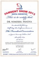 Famdent Show 2013 Certificate