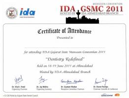 IDA GSMC 2011 Certificate